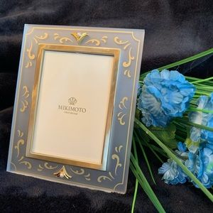 Mikimoto Satin Lucite Picture Frame with 2 Pearls